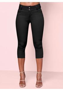 Calça Jeans Capri Preta