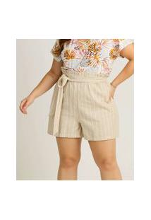 Short Plus Size Feminino Clochard Listrado Marisa