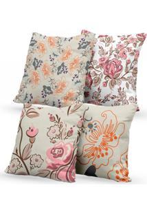 Kit 4 Capas De Almofadas Decorativas Own Flores Rosa E Laranja 45X45 - Somente Capa