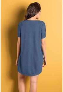 Camisola De Mangas Curtas Azul