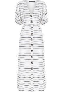 Vestido Longo Decote V - Off White