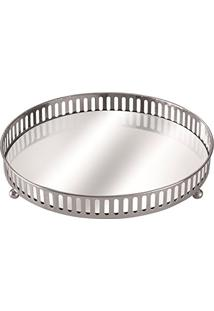 Bandeja Prata Em Metal Com Espelho, Moas, Preto, 5658