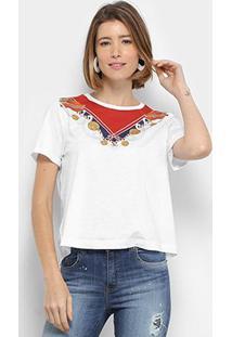 Camiseta T-Shirt Lança Perfume Manga Curta Feminino - Feminino-Branco