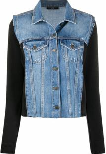 Diesel Jaqueta Com Recorte Jeans - Preto