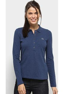 4484ba73b0 Camisa Polo Lacoste Manga Longa Botões Feminina - Feminino-Azul