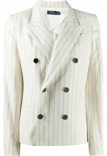 Polo Ralph Lauren Blazer Risca De Giz Com Abotoamento Duplo - Branco