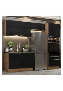 Cozinha Completa Madesa Lux 260005 Com Armário E Balcáo - Rustic/Preto Marrom