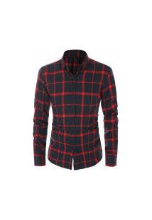 Camisa Masculina Xadrez Berwick - Azul E Vermelho