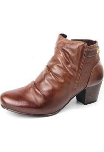 Ankle Boot Couro Sapatofran Slouch Perlatto Feminina - Feminino-Marrom