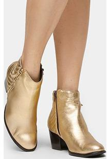 Bota Couro Cano Curto Shoestock Matelassê Feminina - Feminino-Dourado