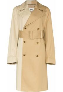 Mm6 Maison Margiela Trench Coat Bicolor Com Aboamento Duplo - Marrom