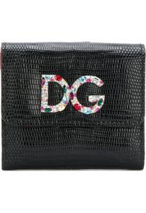 Dolce & Gabbana Carteira De Couro Com Logo Em Placa - Preto