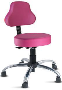 Cadeira Mocho Rosa Plus Cromada Giratória