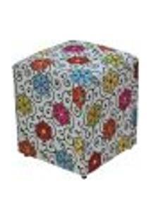 Puff Quadrado Decorativo L02 Tecido Linho Floral - Lyam Decor
