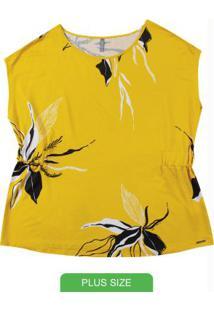 Blusa Plus Size Com Estampa Floral Amarelo