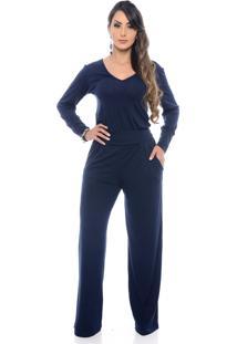Macacão Pantalona B'Bonnie Manga Longa Ellen Azul Marinho