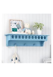 Prateleira Mdf Azul Ursinho Quarto Bebê Gráo De Gente Azul