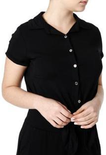 Camisa La Gata Manga Curta Feminina - Feminino-Preto