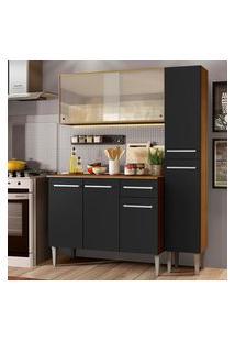 Cozinha Compacta Madesa Emilly Force Com Armário, Balcáo E Paneleiro - Rustic/Preto Marrom