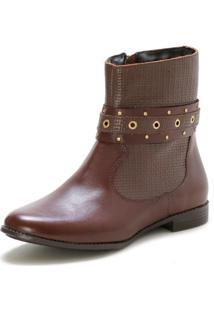 Bota Casual Couro Dia A Dia Doc Shoes Marrom - Kanui