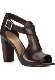 Sandália Couro Shoestock Salto Grosso Recortes Feminina - Feminino-Marrom