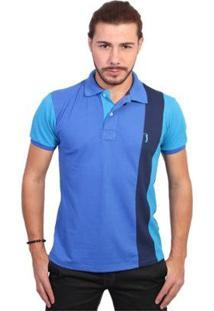 Camisa Polo Golf Club Listrada Masculina - Masculino-Azul Royal+Azul Claro