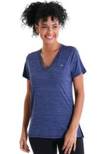 Camiseta Gola V Energy Feminnina - Feminino-Azul