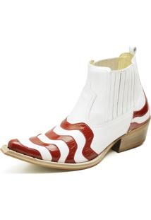 Botina Bota Country Bico Fino Top Franca Shoes Verniz Branco / Vermelho