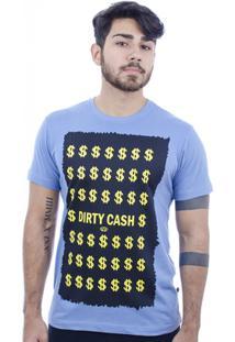 Camiseta Hardivision Dirty Cash Manga Curta - Masculino-Azul