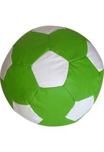 Puff Infantil Bola De Futebol Em Courino - Verde E Branco - Stay Puff