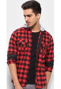 Camisa Gangster Xadrez Capuz Removível Masculina - Masculino-Vermelho