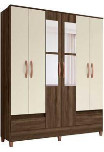 Guarda-Roupa Casal Com 6 Portas E 2 Gavetas Ametista-Móveis Albatroz - Cedro / Off White