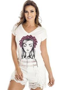 Camiseta Flores Ana Hickmann Feminina - Feminino-Off White