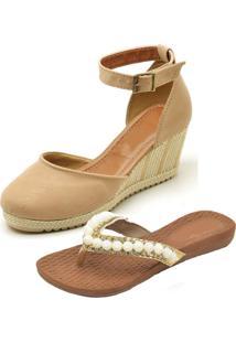 Kit Sandálias Ousy Shoes Anabella Mais Rasteirinha Nude