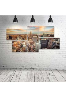 Quadro Decorativo - Houses-Usa-Megapolis-New-York-City - Composto De 5 Quadros