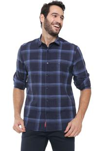 Camisa Aramis Slim Fit Xadrez Azul