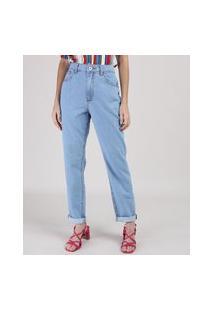 Calça Jeans Feminina Mom Cintura Alta Azul Médio