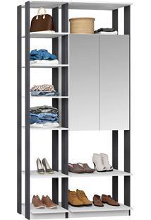 Closet Modulado 1 Armário C/ Espelho Clothes 9007 – Be Mobliário - Branco / Espresso