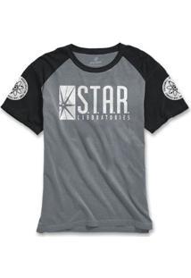 Camiseta Bandup! Raglan The Flash Serie Star Laboratories - Masculino-Cinza