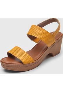 Sandã¡Lia Usaflex Texturizada Amarela - Amarelo - Feminino - Dafiti