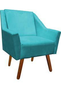 Poltrona Decorativa Ana Suede Azul Tiffany - D'Rossi