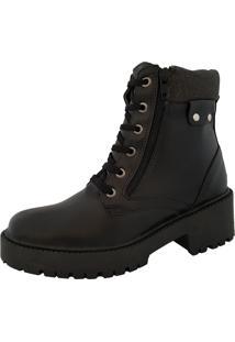 Bota Navit Shoes Tratorada Com ZãPer Preto - Preto - Feminino - Dafiti