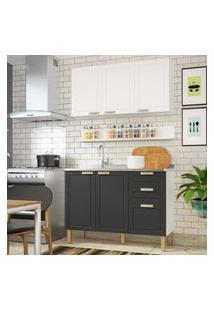 Cozinha Completa 3 Peças Americana Multimóveis 5919 Branco/Grafite