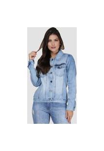 Jaqueta Jeans Zayon Tradicional Azul Delavê