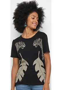 Camiseta Sommer Estampada Feminina - Feminino-Preto