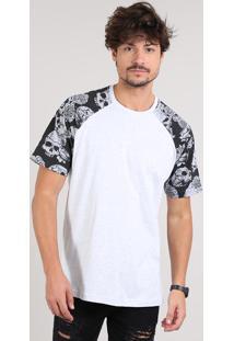 Camiseta Masculina Manga Curta Raglan Estampada Floral Gola Careca Cinza Mescla Claro