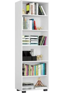 Estante Para Livros 5 Prateleiras Veneza Euro Office Siena Móveis Branco Texturizado