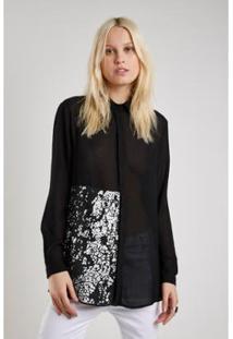 Camisa Sacada Detalhe Textura Feminina - Feminino-Preto
