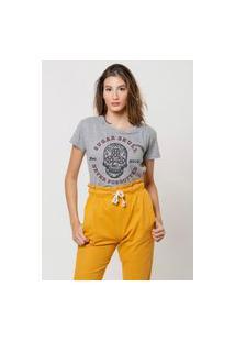 Camiseta Jay Jay Básica Sugar Skull Cinza Mescla
