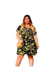 Vestido Rodado Plus Size Dona Bordô Princesa - Amarelo